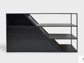 Modern TV cabinet of solid wood and steel ALANO