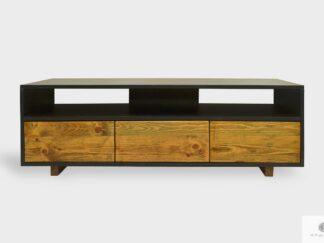 Industrialna szafka RTV drewniana z szufladami do salonu NESCA I