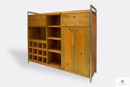Industrial bar cabinet of solid wood and steel to dining room