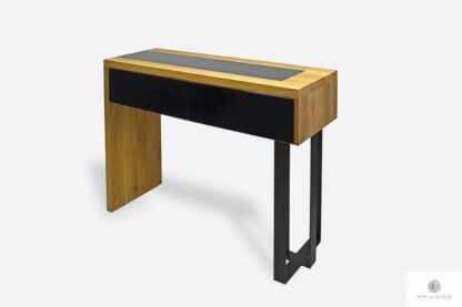 Industrial oak console table with drawers to living room MOCCA