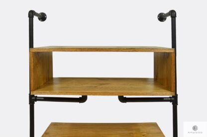 Industrial wall bookcase with wooden shelves for size DENAR