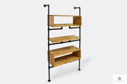 Industrial bookcase of solid wood and steel for books to room DENAR
