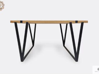 Industrial table of oak solid wood on metal legs NERON