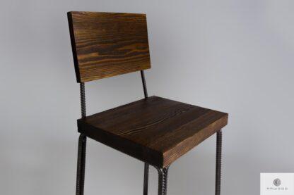Krzesło barowe hoker z drewna litego z oparciem HEGEL
