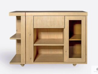 Modern chest of drawers of pine wood and glass COPPER