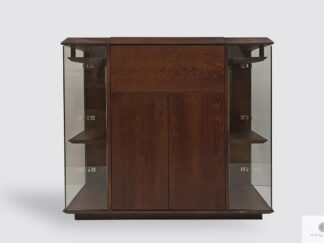 Modern liquor cabinet of solid wood with glasses hangers CARMEN