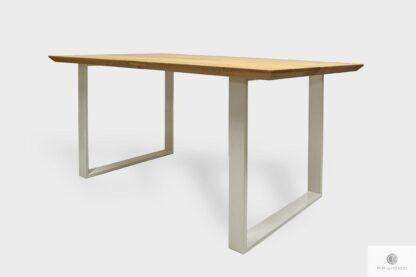 Modern oak table on white metal legs to dining room BRITA