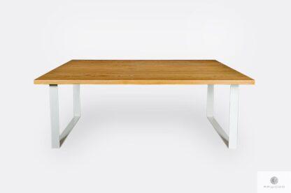Modern industrial oak table with white metal legs BRITA