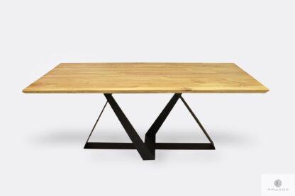 Nowoczesny stół dębowy na metalowej czarnej podstawie BORNEO