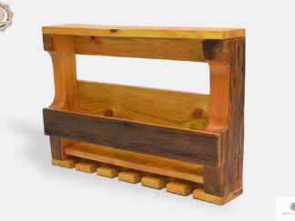 Wine shelf of solid wood for bottles and glasses to dining room