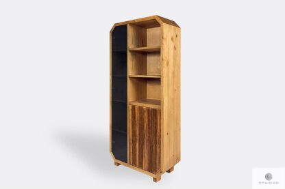 Wooden bookcase with shelves of oiled wood OMNIS