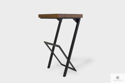 Rustical barstool of solid wood and steel to kitchen HUGON