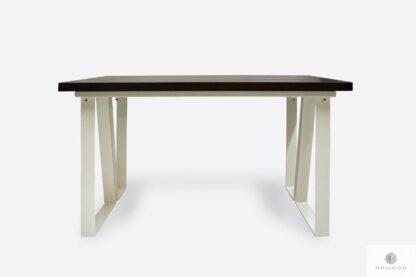 Skandynawski stół z dębowym blatem i metalowymi nogami ELEGANT