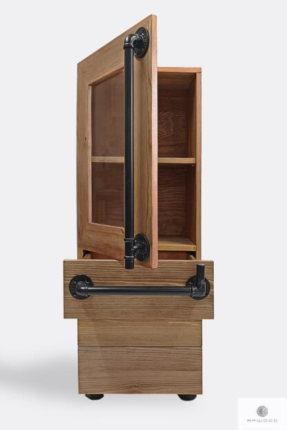 Wooden bookcase with drawers and shelves DENAR