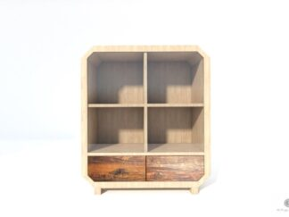 Solid chest of drawers of solid wood with glass to living room OMNIS