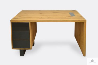 Solid and massive desk of solid wood and steel MOCCA