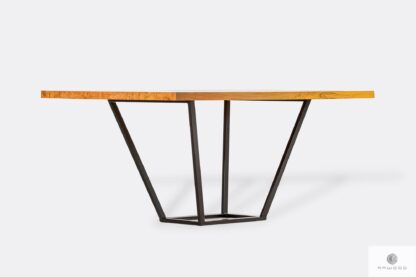 Solid oak table with black metal legs LIBRO