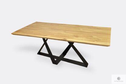 Stół dębowy konferencyjny z czarnymi metalowymi nogami BORNEO