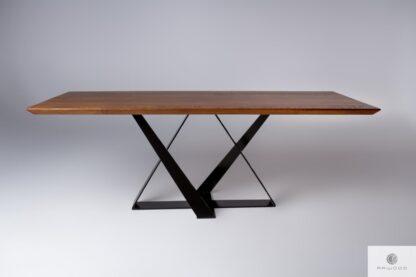 Oak table on metal base BORNEO