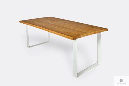 Oak table with white modern legs for order BRITA