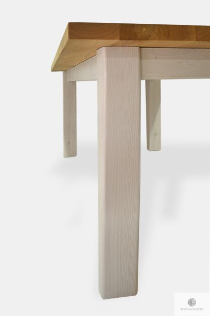 Table of solid oak wood with white legs for kitchen BIANCO