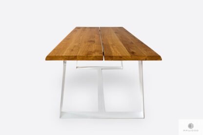 Table of oak wood with metal legs to dining room MERGE