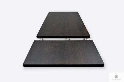 Stół z dębowym blatem z dostawkami i metalowymi nogami ELEGANT