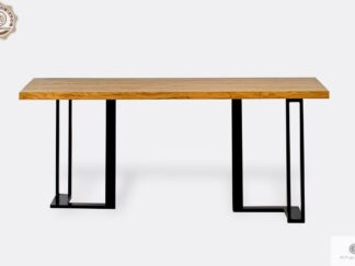 Oak table with solid tabletop and metal base SNAKE