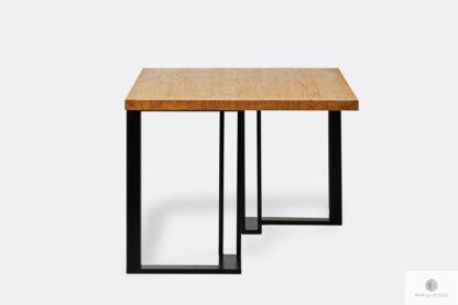 Table with wooden tabletop and metal legs SNAKE