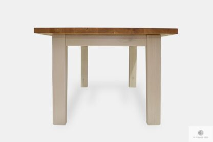 Table with wooden legs for dining room kitchen BIANCO