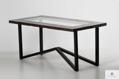 Stół ze starego drewna i szkła na metalowych nogach do jadalni INDRA