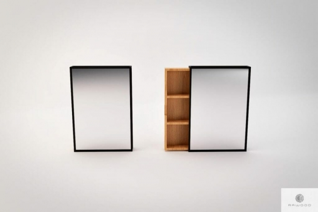 Mirror for hallway with wall shelves, modern MIRA find us on https://www.facebook.com/RaWoodpl/