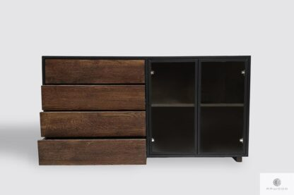 Chest of drawers of solid wood and glass to office CARLA
