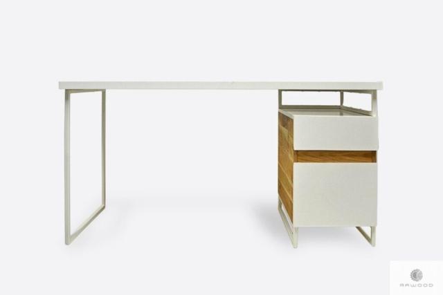 Modern white desk with solid wood on metal legs DORIS
