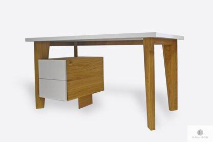 White desk of solid wood to office GRAND