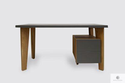 Designerskie biurko drewniane z kontenerkiem do gabinetu pokoju GRAND
