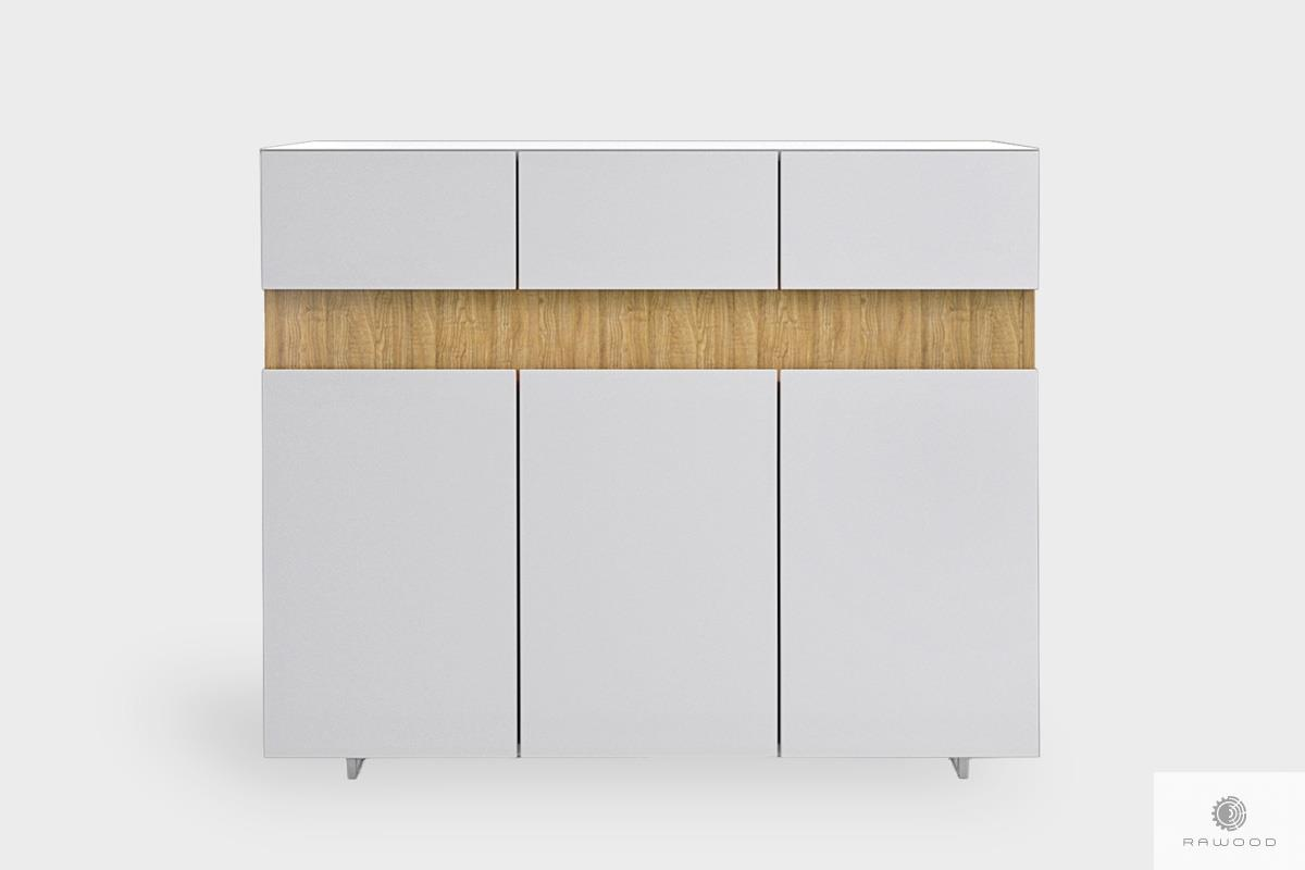 White chest of drawers with solid wood to living room DORIS
