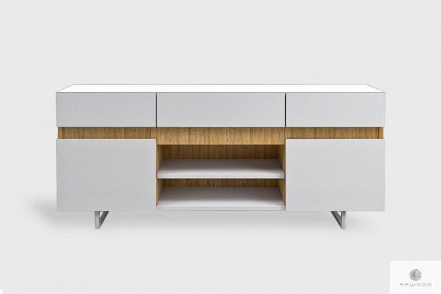 Modern white TV cabinet on metal legs to living room DORIS