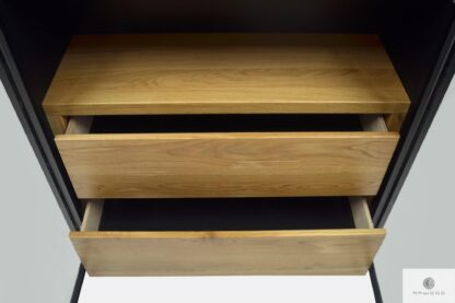 Display cabinet bookcase with drawers of solid oak wood CARLA