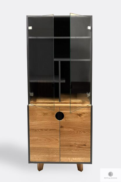 Display cabinet of solid wood and laminated board for order GRAND