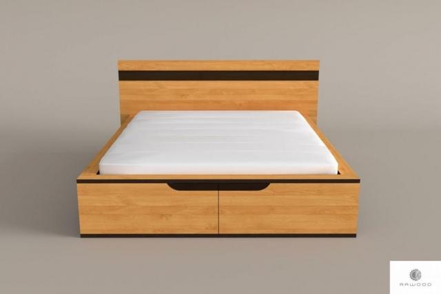 Oak modern bed of solid wood to bedroom LAGOS find us on https://www.facebook.com/RaWoodpl/