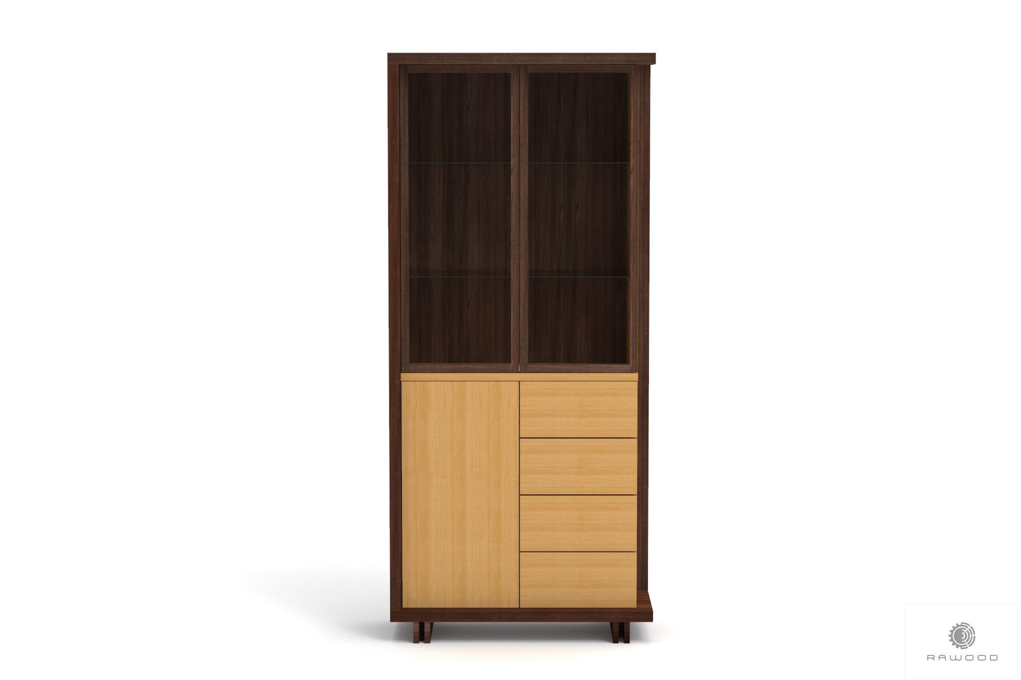 Modern stylish wooden display cabinet with glas to living room NESTON