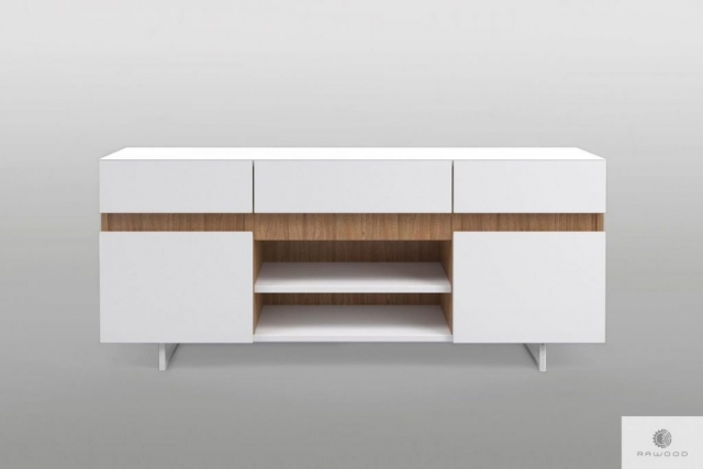 Modern white TV cabinet on metal legs solid wood to living room DORIS Furniture Manufacturer RaWood Premium Furniture