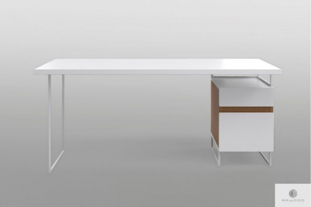 Modern white desk with solid wood on metal legs DORIS Furniture Manufacturer RaWood Premium Furniture