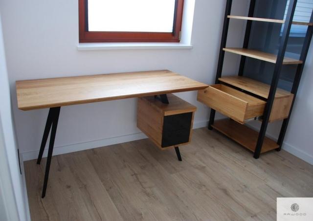 Designer oak desk on steel legs VITA and wooden bookcase of solid wood COLIN