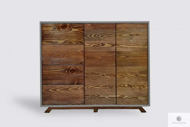 Modern wooden chest of drawers with fronts of old solid wood BERGEN Furniture Manufacturer RaWood Premium Furniture