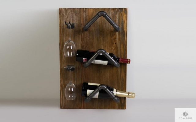 Wine shelf made of solid wood for dining DENAR find us on https://www.facebook.com/RaWoodpl/