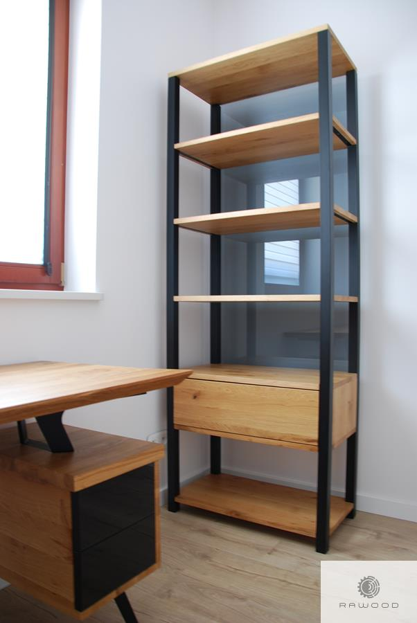 Wooden bookcase of solid wood to office living room COLIN