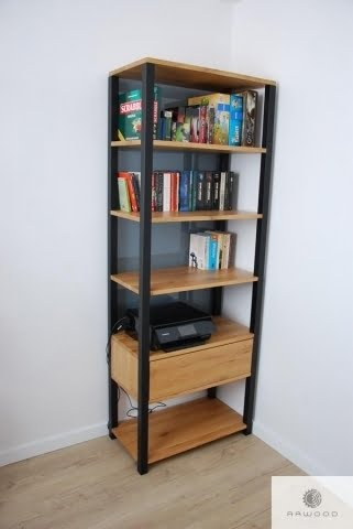 Bookcase of solid wood with drawer and shelves to office COLIN