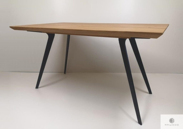 Oak table on metal legs to dining room VITA find us on https://www.facebook.com/RaWoodpl/